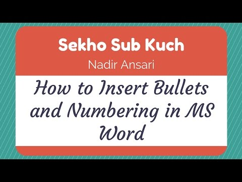 How to Insert Bullets and Numbering in MS Word [Urdu / Hindi]