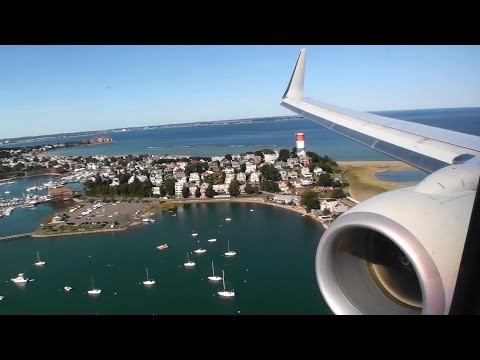 Perfect First Class HD Boeing 737-800 Ocean Landing At Boston Logan!!!