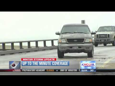 Icy road conditions leave many commuters stranded on Houston roadways