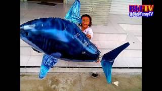 Balon Mainan Anak - Qyla Suka Bermain Air Swimmer Shark - Balon Gas Swimmer Hiu