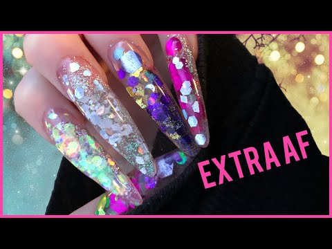 Doing my long af chunky glitter nails