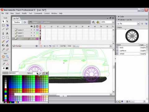 Flash animation lesson 5 car moving