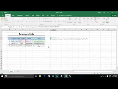 How to Generate sql insert/delete/update script from excel 2016 - Part 1