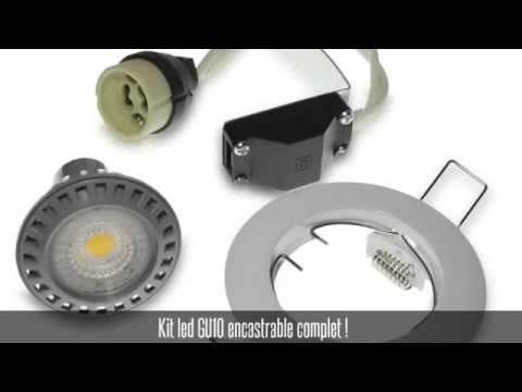 Kit encastrable fixe blanc + ampoule led GU10 6W + douille GU10
