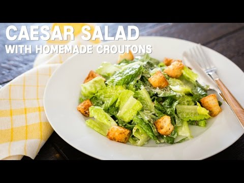 How To Make Caesar Salad with Homemade Croutons (Recipe) シーザーサラダとクルトンの作り方(レシピ)
