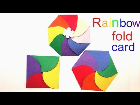 Rainbow 4 petal, 6 petal, 8 petal fold birthday party invitation card