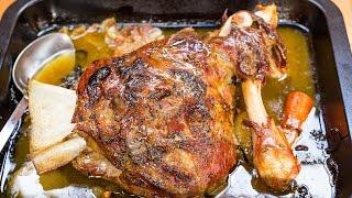 Slow Roasted Lamb Shoulder Recipe With Spring Garlic And Lardo In Whi