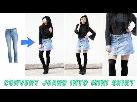 DIY: Convert Old Jeans Into Skirt| In 10 minutes
