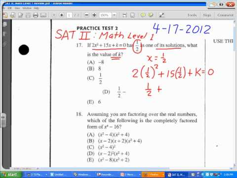 SAT II Math:  Find k in a quadratic equation given one solution