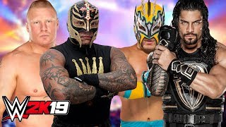 Brock Lesnar and Rey Mysterio vs Kalisto and Roman Reigns