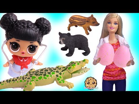 Barbie Doctor Helps Baby Animals with LOL Surprise ! Cookie Swirl C Video