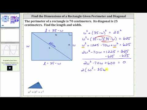 Quadratic App: Find the Dimensions of a Rectangle Given Perimeter and Diagonal