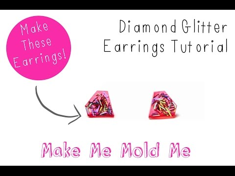 Diamond Glitter Earring Tutorial - Resin DIY Craft Mold - How to use a silicone Mold