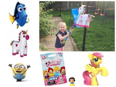 UNICORN PINATA FULL OF TOY SURPRISES! Disney Princess, Finding Dory, Minions, Shopkins
