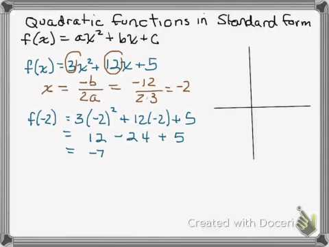 Quadratic function standard form: Finding vertex, domain, range