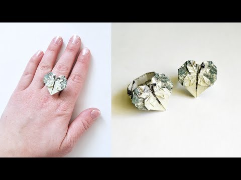 Money RING HEART Origami Dollar Tutorial DIY Folded No glue