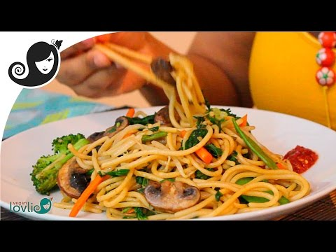 Stir-Fried Vegetable Spaghetti Recipe (vegetarian / vegan recipe)