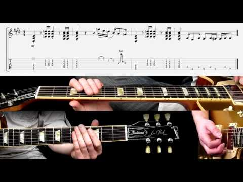 'Back in Black' intro guitar riff, played at different speeds (with score and TAB)