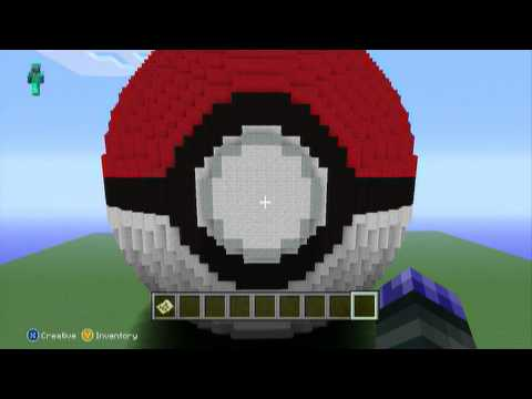 Minecraft 360 Pixel 3D Art: GIANT POKEBALL