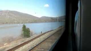Metro-North train ride from New York Grand Central to Poughkeepsie. Hudson Line.