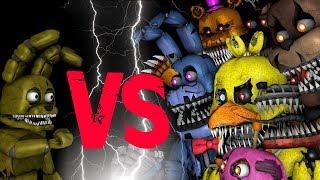 Plushtrap vs Nightmare Freddy Bonnie Chica Foxy Fredbear   FNAF SFM