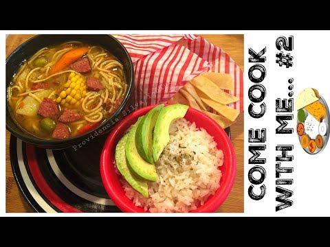 COME COOK WITH ME #2. Sopa De Salchichon, White Rice, Tortilla Chips & Avocado (FULL MEAL)