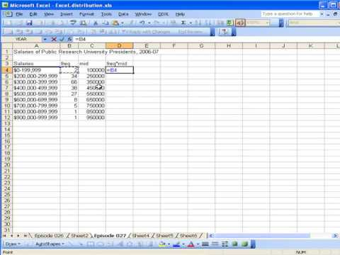 Calculating the mean of grouped data using Excel