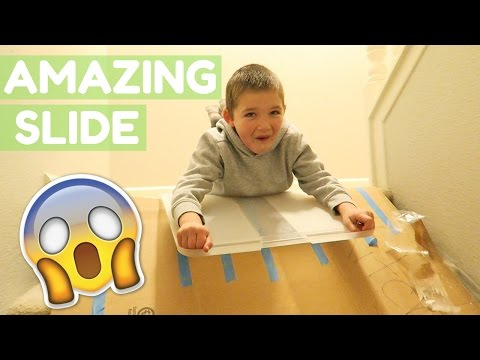 BOX SLIDE SLEDDING DOWN STAIRS!