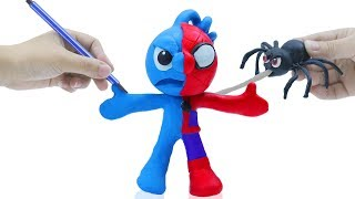 TINY BABY LEARNING COSTUME SPIDER 💖 CLAY MIXER Stop Motion Cartoons