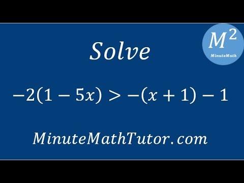 Solve -2(1-5x)›-(x+1)-1