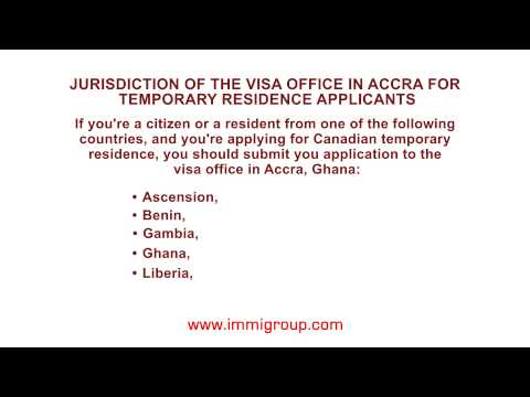 Jurisdiction of the visa office in Accra for temporary residence applicants