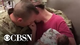 Military dad surprises wife after she gave birth alone