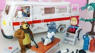 Masha And The Bear Ambulance And Hospital Doctor Toys Car Play 마샤와 곰 구급차 의사 병원놀이 자동차 장난감놀이 - 토이몽