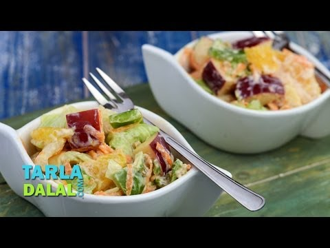 Fruit and Vegetable Salad with Low Calorie Thousand Island Dressing by Tarla Dalal