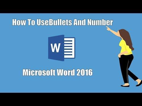 MS word 2016 Tutorial in Hindi / Urdu : Bullets & Numbering