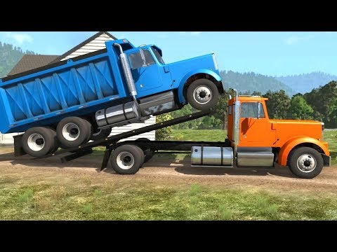 BeamNG Drive - Loading & Transporting a Dump Truck on the Rollback Tow Truck