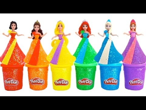 DIY How to Make Play Doh Sparkle Disney Princess Dresses Ariel Elsa Belle * RainbowLearning