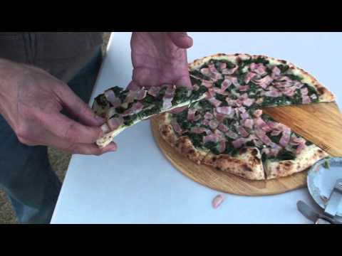 Pizza with Bacon, Spinach & Garlic Cream Sauce