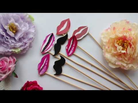 HOW TO MAKE PARTY SUPPLIES - MUSTACHE AND LIP -DIY IDEAS -PHOTO BOOTH PROBS