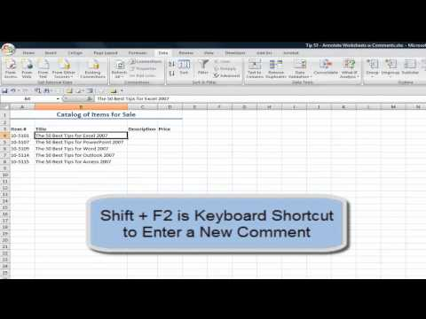 Add and Work with Comments on Excel Worksheets