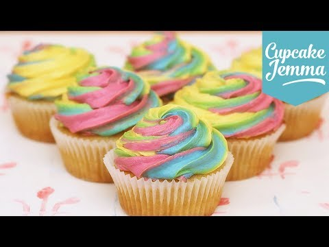 Rainbow Swirl Buttercream Icing | Cupcake Jemma