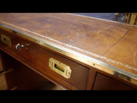 Bradley Antique Style Mahogany Military Campaign Twin Pedestal Brass Edge Desk