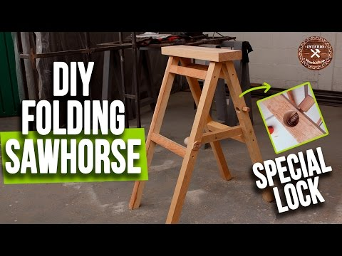 Making a Folding Sawhorse with Special Lock | Sturdy and Cheap | Interio Workshop