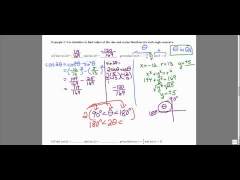 MATH 1316 Section 5.5: Solving for cos2x and sin2x values using double angle identities