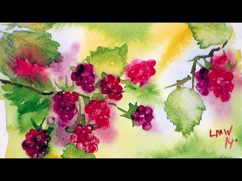 How To Paint Raspberries in Watercolor