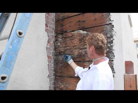 Brick chimney meets stucco wall leaking, detailed video and description