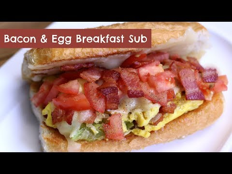 Bacon and Egg Breakfast Sub ~ The BEST Scrambled Eggs Sandwich Recipe ~ Amy Learns to Cook
