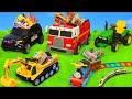 Pelleteuse Tractopelle Camion De Pompier Voiture De Police Jouets Pour Enfants Excavator Toys
