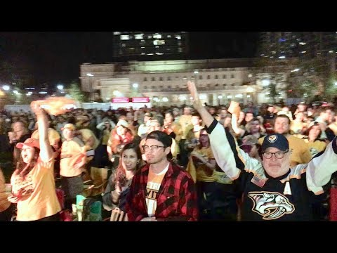 Preds Fans Celebrate Playoff Win VS Avalanche