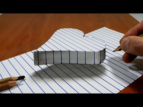 Draw a Floating Heart on Line Paper   3D Trick Art